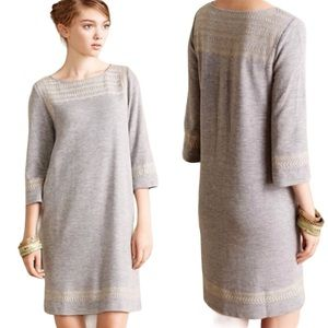 EDME & ESYLLTE EMBROIDERED GRAY DRESS